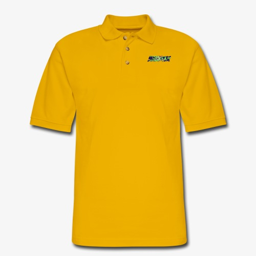 Retro Logo Glitch - Men's Pique Polo Shirt