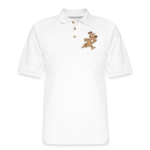 Chubby brown dog feeling tired when running - Men's Pique Polo Shirt