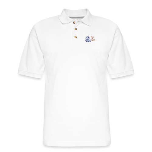 Funny sheep in love running after a terrified wolf - Men's Pique Polo Shirt