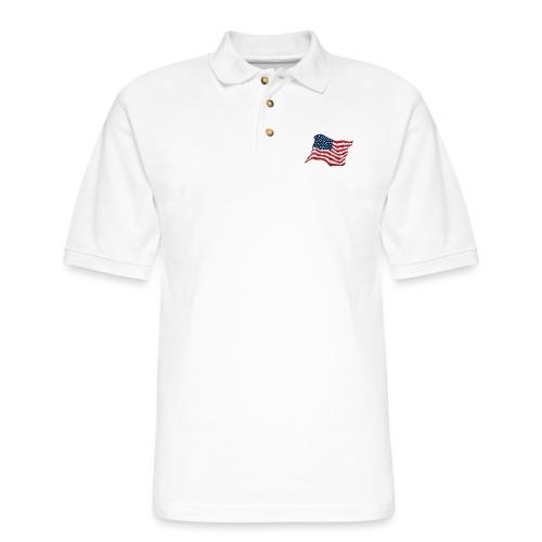 American Pride USA Flag Waving - Men's Pique Polo Shirt