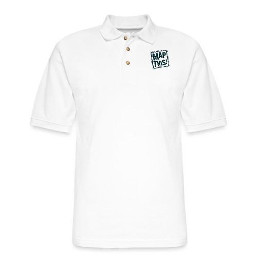 MapThis! Black Stamp Logo - Men's Pique Polo Shirt