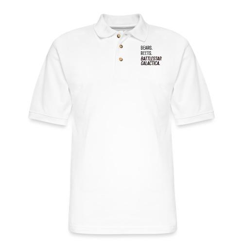Bears. Beets. Battlestar Galactica. (Black & Red) - Men's Pique Polo Shirt