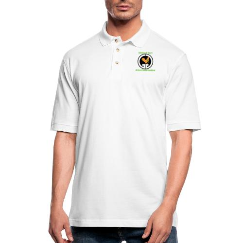 Logo with channel name and hashtag. - Men's Pique Polo Shirt
