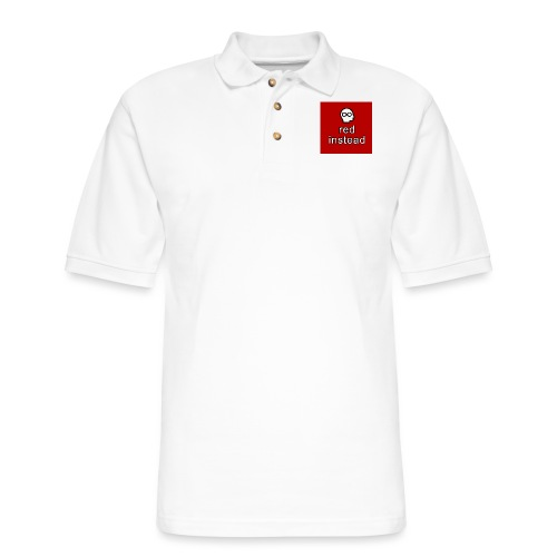 red instead autism acceptance button - Men's Pique Polo Shirt