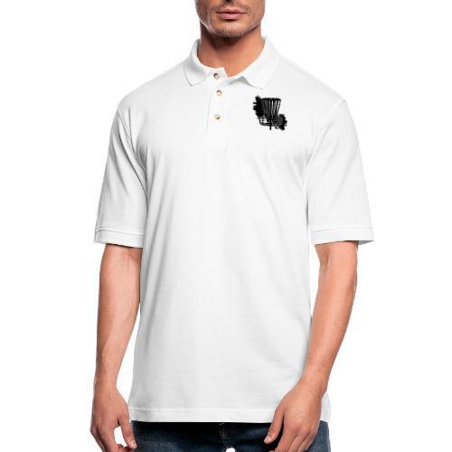 Disc Golf Basket Paint Black Print - Men's Pique Polo Shirt