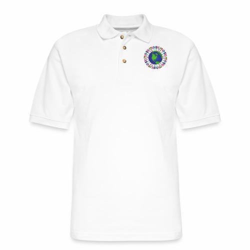 Geometric Art/Human Abstract/Earth Globe - Men's Pique Polo Shirt