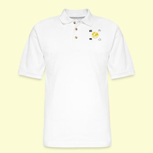 Yellow world print - Men's Pique Polo Shirt