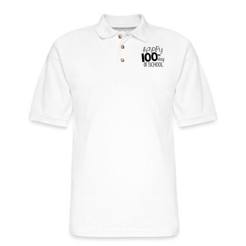 Happy 100th Day of School Chalk Teacher T-Shirt - Men's Pique Polo Shirt