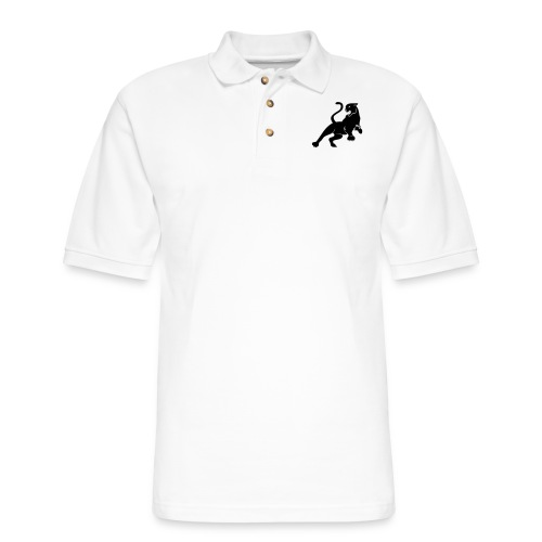 Panther Cat with tail and claws leaps and roars - Men's Pique Polo Shirt