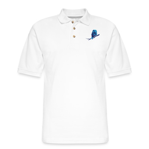 owl bird fowl blue - Men's Pique Polo Shirt