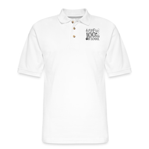 Happy 100th Day of School Arrows Teacher T-shirt - Men's Pique Polo Shirt