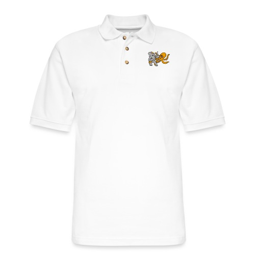 Elephant vs. Octopus T-Shirt - Men's Pique Polo Shirt