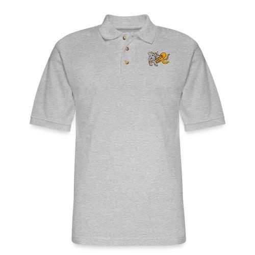 Elephant vs. Octopus T-Shirt - Men's Pique Polo Shirt