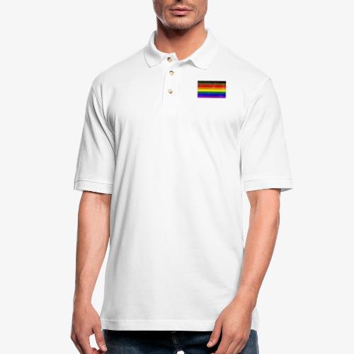 Distressed Philly LGBTQ Gay Pride Flag - Men's Pique Polo Shirt