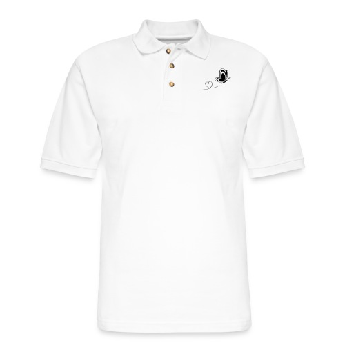 butterfly love heart wings insect - Men's Pique Polo Shirt
