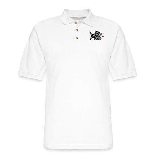fish swarm comic hunt hunter ocean hunting fishes - Men's Pique Polo Shirt