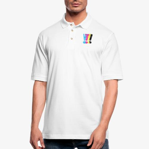 Large Distressed CMYW Exclamation Points - Men's Pique Polo Shirt