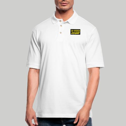 Ol' School Johnny Yellow Text on Black Square - Men's Pique Polo Shirt