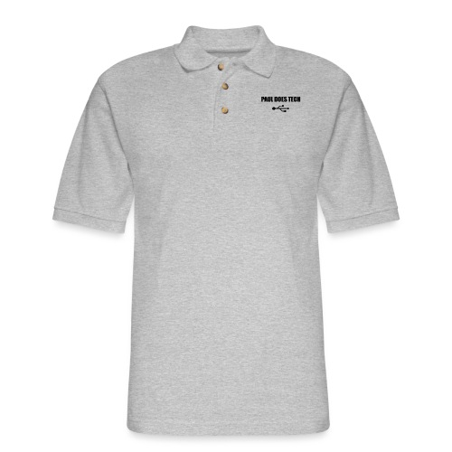 Paul Does Tech Logo Black with USB - Men's Pique Polo Shirt