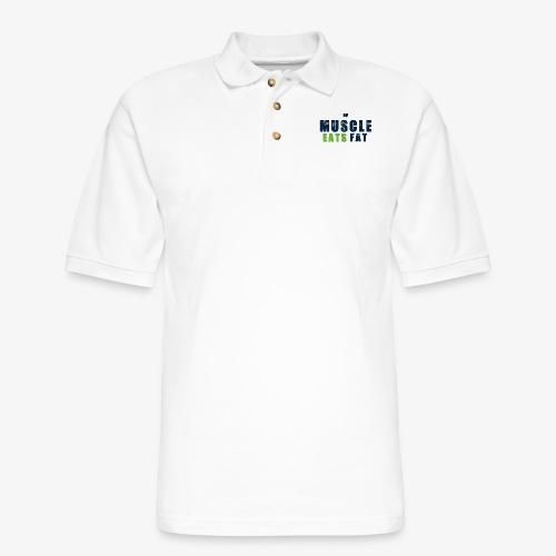 Muscle Eats Fat (Seahawks Blue) - Men's Pique Polo Shirt