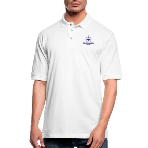 BLD logo with text blue - Men's Pique Polo Shirt