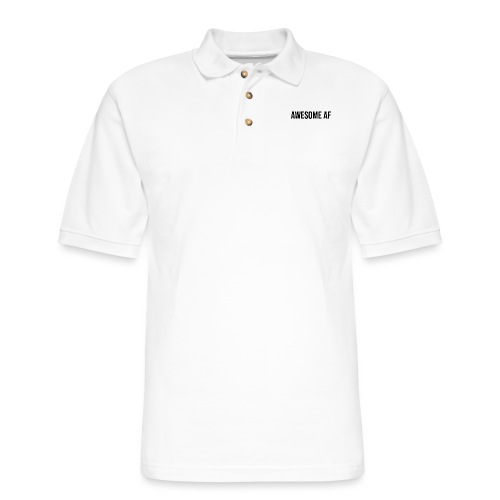 AWESOME AF BLACK - Men's Pique Polo Shirt