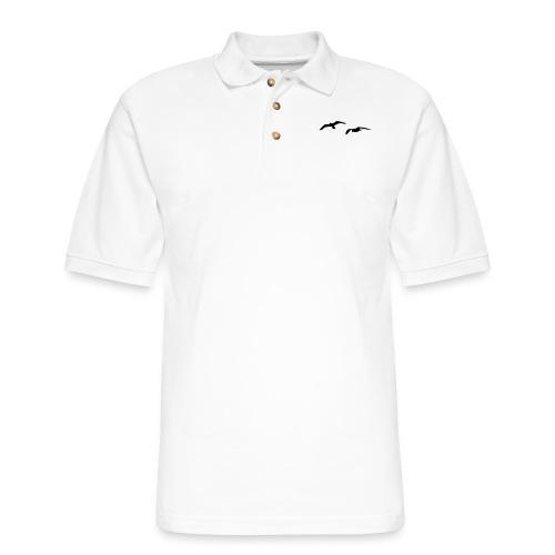 sea gull seagull harbour bird beach sailing ocean - Men's Pique Polo Shirt