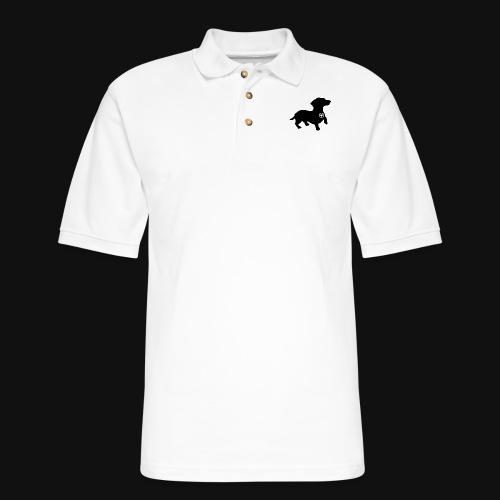 Dachshund love silhouette black - Men's Pique Polo Shirt