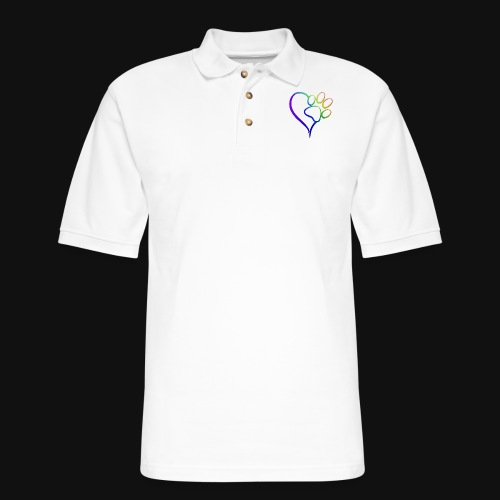 Paw Print on my Heart Rainbow Bridge - Men's Pique Polo Shirt