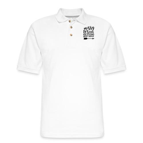 messy bun - Men's Pique Polo Shirt