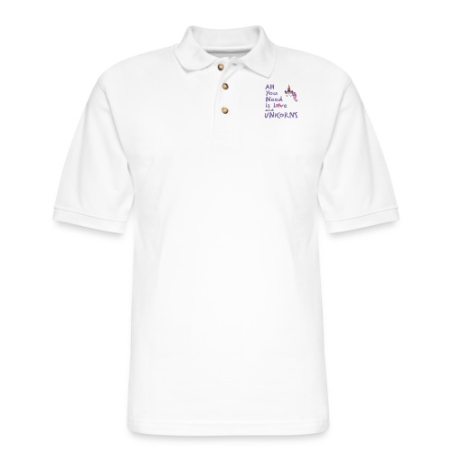 All You Need is LOVE and UNICORNS - Men's Pique Polo Shirt