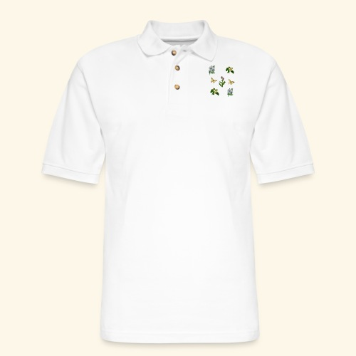 vintage bloom Botanical Design - Men's Pique Polo Shirt