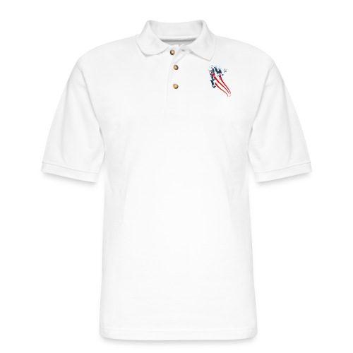 Sweeping American Flag - Men's Pique Polo Shirt