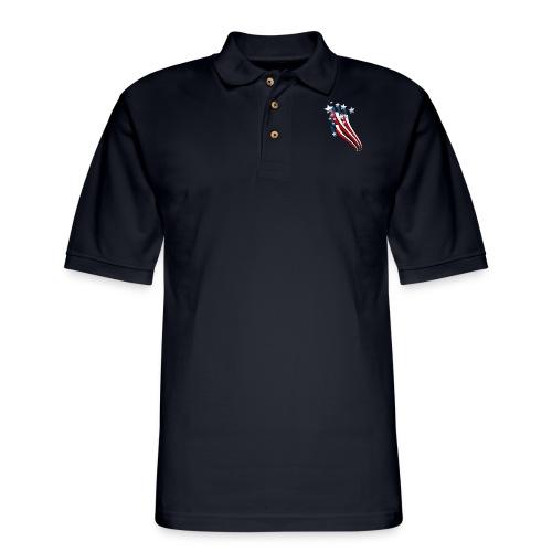 Sweeping American Flag - Men's Pique Polo Shirt