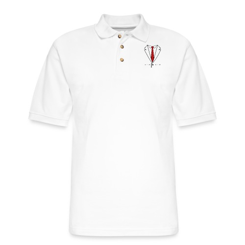 Suit and Red Tie - Men's Pique Polo Shirt