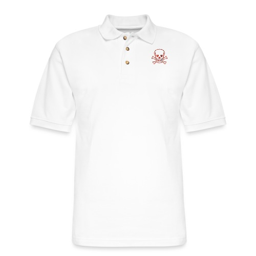 Skull & Cross Bones Red Plaid - Men's Pique Polo Shirt