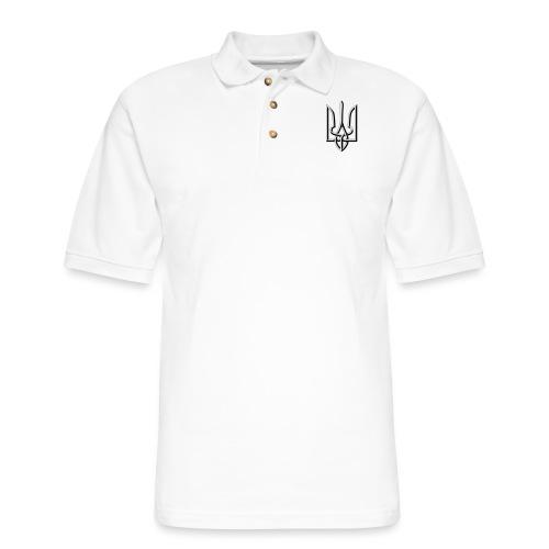 Black and White Trident - Men's Pique Polo Shirt