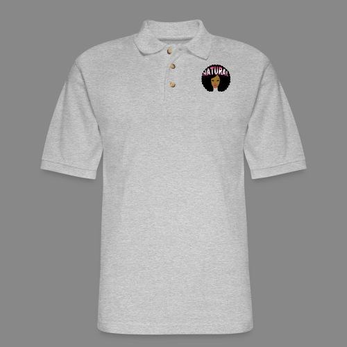 Natural Afro (Pink) - Men's Pique Polo Shirt