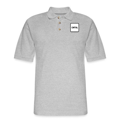White CNTRL Logo - Men's Pique Polo Shirt