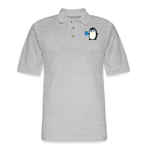 Penguin Coffee Cute - Blue Glasses - Men's Pique Polo Shirt