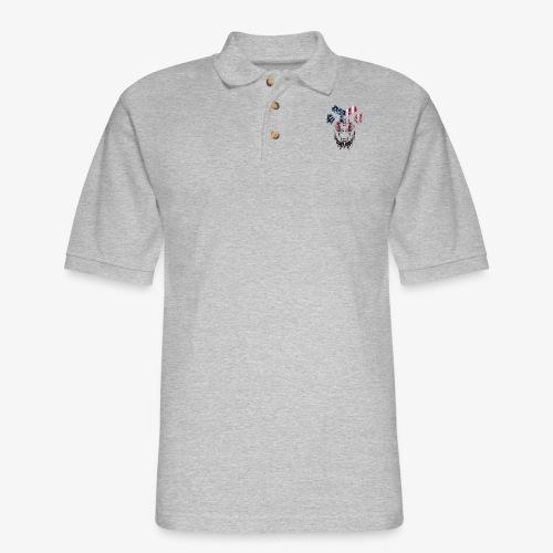 American Flag Lion Shirt - Men's Pique Polo Shirt