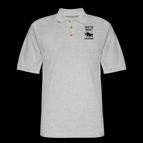 Save the Husky Unicorns | Funny Rhino - Men's Pique Polo Shirt