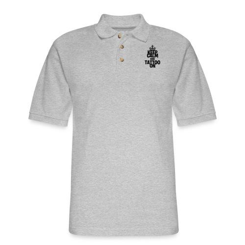Keep Calm and Tattoo On vector - Men's Pique Polo Shirt