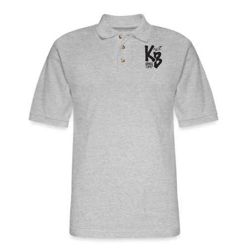 Kure Beach Sunrise-Black Lettering-Front and Back - Men's Pique Polo Shirt