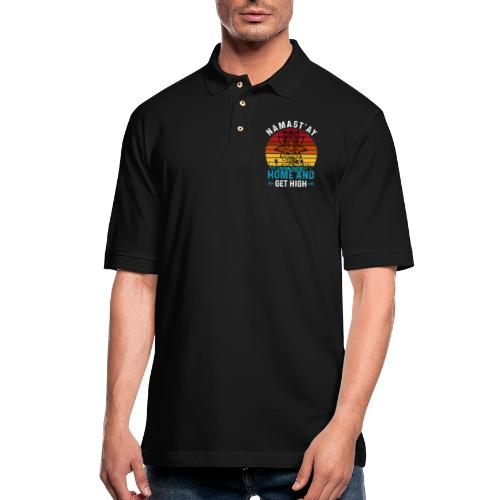 Namast'ay Home and Get High - Men's Pique Polo Shirt