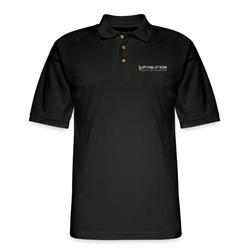 white logo transparent with gold flame - Men's Pique Polo Shirt