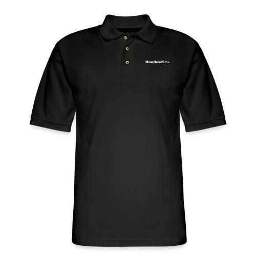Money Talks News Logo - White - Men's Pique Polo Shirt