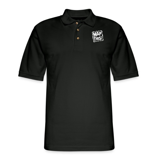 MapThis! White Stamp Logo - Men's Pique Polo Shirt