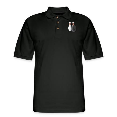 Bowling Ball and Pins - Men's Pique Polo Shirt
