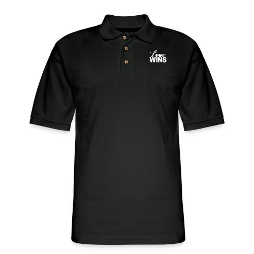 LoveWins-heart logo - Men's Pique Polo Shirt